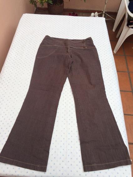 Jean Pantalon Mujer Marron Semi Elastizado Oxford Talle 40