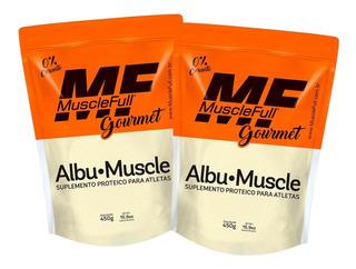 2x Albumina Pura Com Sabor 450g - Muscle Full - Com Nf