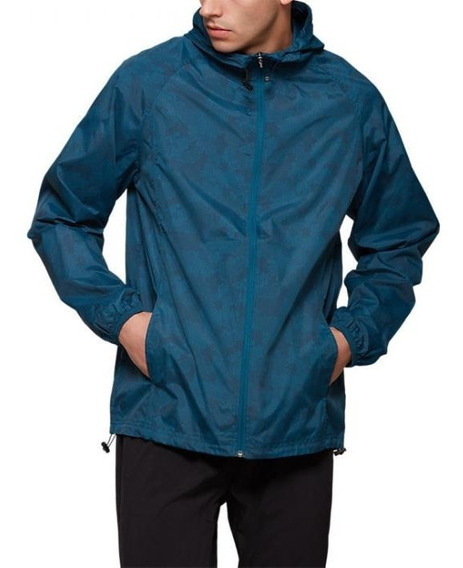 Chamarra Asics Packable Jacket Hombre Talla L Blue Camo