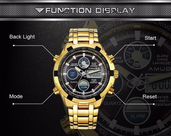 Relógio Militar Amuda Marca De Luxo Masculino Preto/dourado!