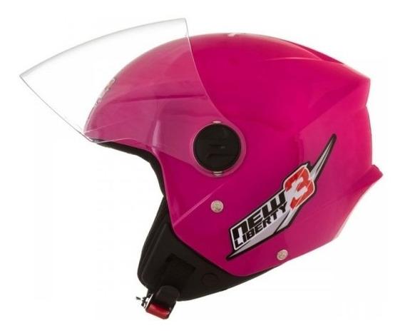 Capacete Aberto Feminino Moto New Liberty Three Rosa Tork