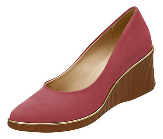 Sapato Feminino Anabela Azaleia Camurça Hibisco
