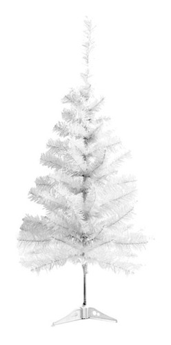Árvore De Natal Branca De Mesa 90 Cm 70 Galhos Papai Noel