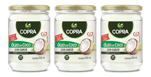 Imagem 1 de 1 de Copra Óleo De Coco S/ Sabor 500ml (kit C/03)