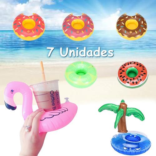 Imagen 1 de 9 de 7pcs Portavasos Flotador Inflables Alberca Playa  Fiesta Set