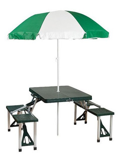 Mesa Con Bancos Plegable Y Sombrilla Picnic Verde Stansport