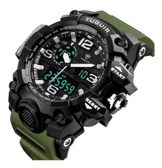 Relógio Masculino Tuguir Anadigi Tg1155 Preto E Verde