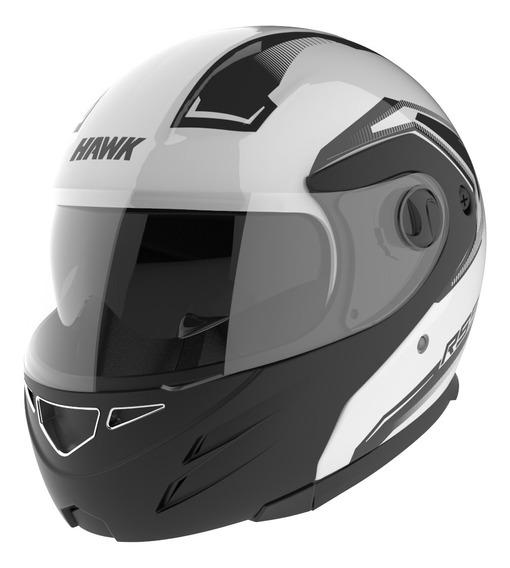 Casco Moto Hawk Rs5 Vector Rebatible Blanco Doble Visor Of
