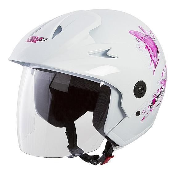 Capacete Aberto Moto Feminino Pro Tork Branco E Rosa Atomic