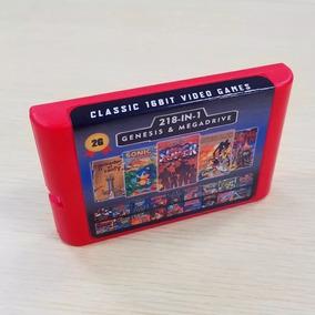 Cartucho Mega Drive 218 Jogos Em 1 Multi Games Com Bateria!