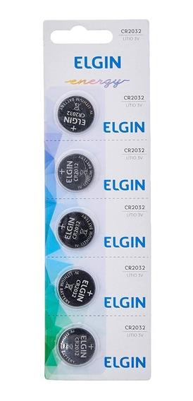 1 Cartela Com 5 Bateria Moeda Cr2032 3v Pilha Lithium Elgin