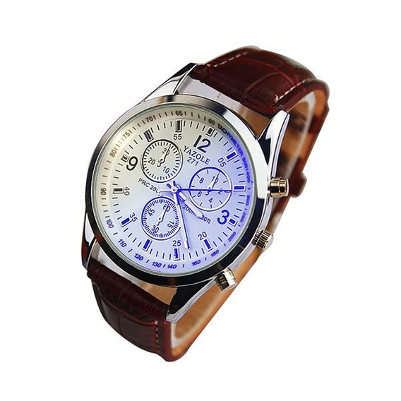 Relógio Masculino Yazole 271 Branco Pulseira Marrom Quartzo