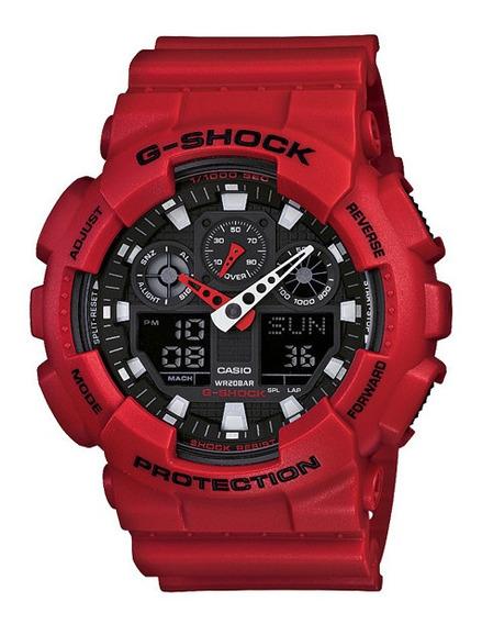 Relógio Casio G-shock Ga-100b-4a Vermelho Novo Original