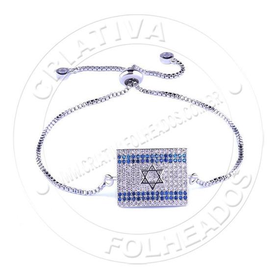 Pulseira Bandeira Israel Estrela Davi Cravada Zirconias Folh