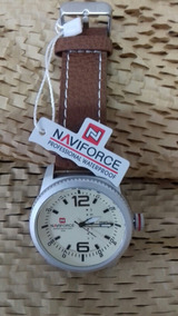 Relógio Masculino Naviforce, Pulseira Marrom, Cod. 00365