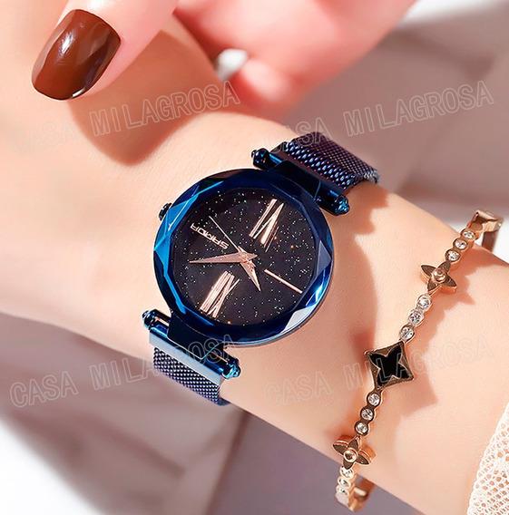Relógio Importado Feminino Romano Luxo Casual Azul