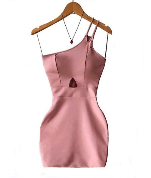 Promoção Vestido Tubinho Justo Rose Colado De Festa Ane