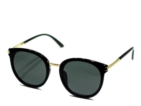 Óculos Sol Armação Gatinho Preto Com Dourado Moda Blogueira