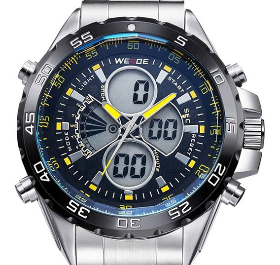 Relógio Masculino Weide Prata Original Prova D