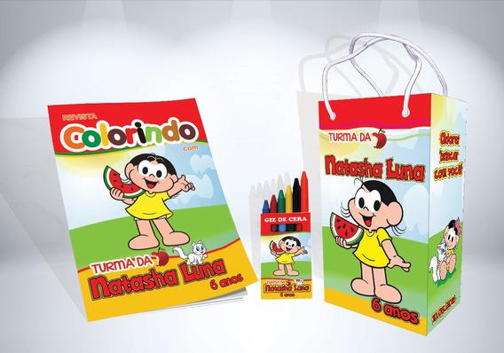 30 Kit De Colorir Da Magali Revista Sacola Giz Lembrança
