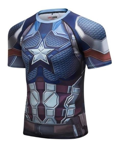 Camisa Compresion Marvel Avengers Endgame Elite Capitan America Playera Hombre Manga Corta Licra Crossfit Gym Rashguard