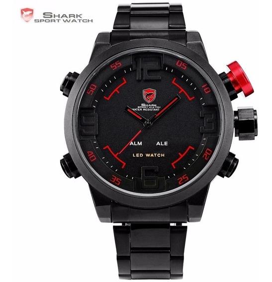 Relógio Esporte Shark Gulper Sh105 Dual Time Led Masculino