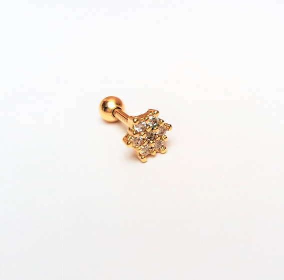 Piercing Delicado Tragus Cartilagem Flor Zirconia Aço F.ouro