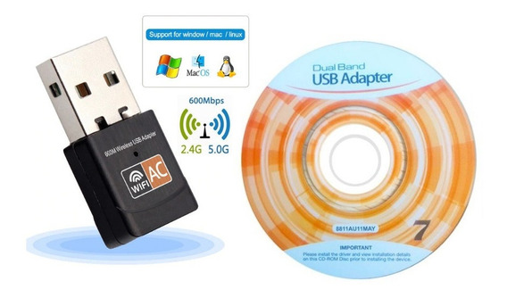 Dual Band 600mbps 2.4ghz + 5ghz Adaptador Wireless Usb Wifi