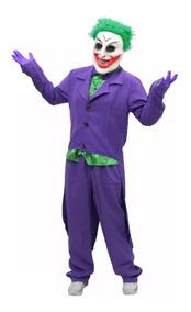 Fantasia Coringa Adulto Roupa Joker Batman + Máscara + Luvas