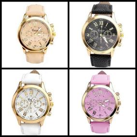 Relógio Feminino Dourado Pulseira De Couro Barato Promoção