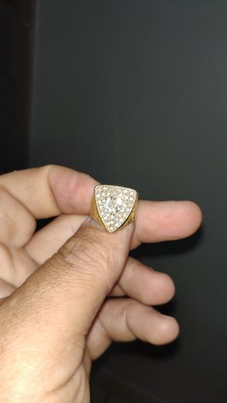 Anel Ouro Com Diamante 7mm E Pequenos