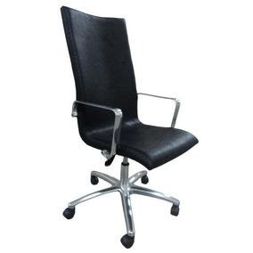 Cadeira Escritório Alta Tecido Nobuk Preto Com Braço
