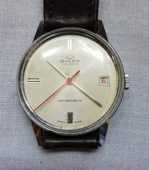 Bonito Reloj Buler Cda. Manual Calendar. Sobrio Y Elegante