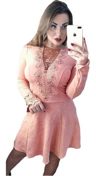 Vestido Boneca Com Renda Rodado Manga Longa Barato Com Bojo