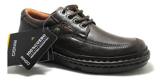 Zapato Ringo Flex Cuero Marrón Forrado