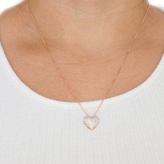 Colar Folheado A Ouro 18k Cordão Feminino Pingente Coração