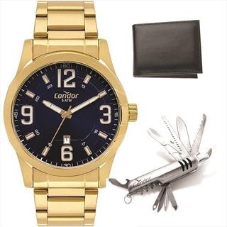 Relógio Condor Masculino Dourado + Canivete + Carteira + Nf