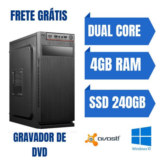 Cpu Desktop Pentium Dual 4gb Ssd 240gb Win10 Oferta Especial