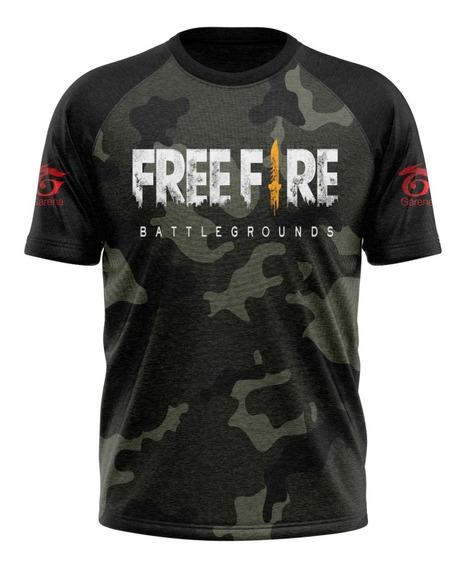 Camisa Free Fire Com Nick Name Uniforme Bgs Frente Grátis!!