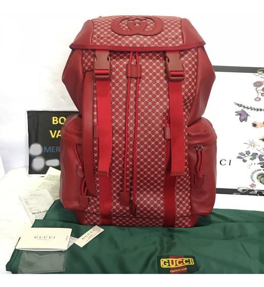 Mochila Gucci Dapper Dan Backpack Gg Pattern Roja En Caja