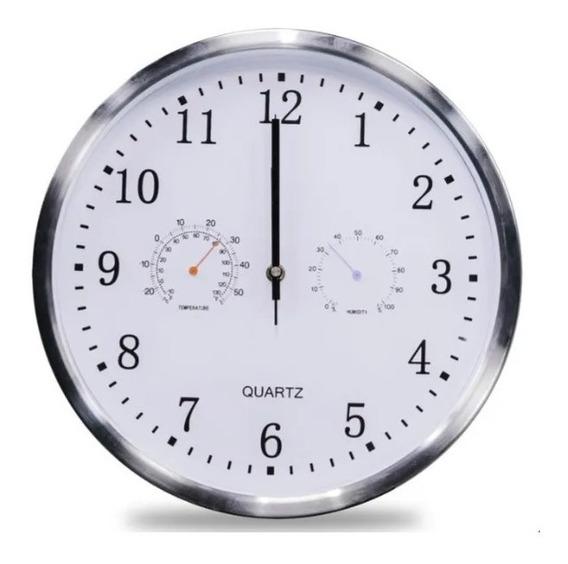 Reloj De Pared Con Marco Acero Inox. Temperatura Y Humedad