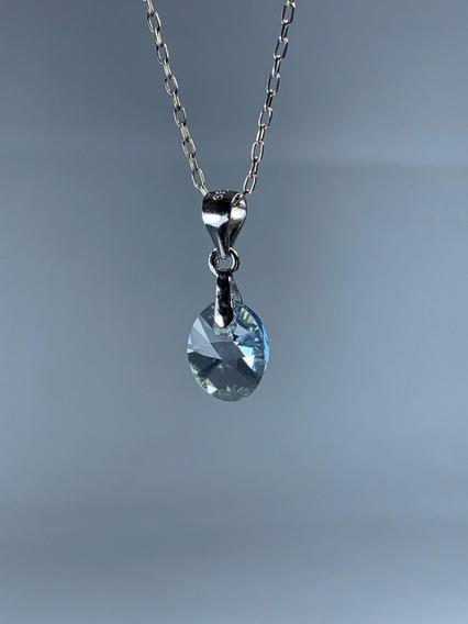 Conjunto De Plata Cristal Swarovski Elements Crystal White
