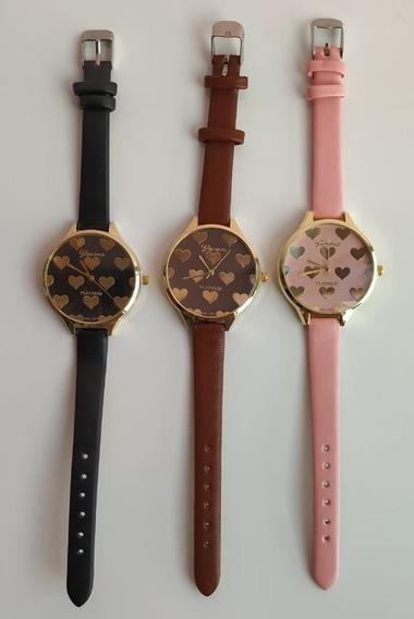 Relógio Quartzo Genebra - Corações