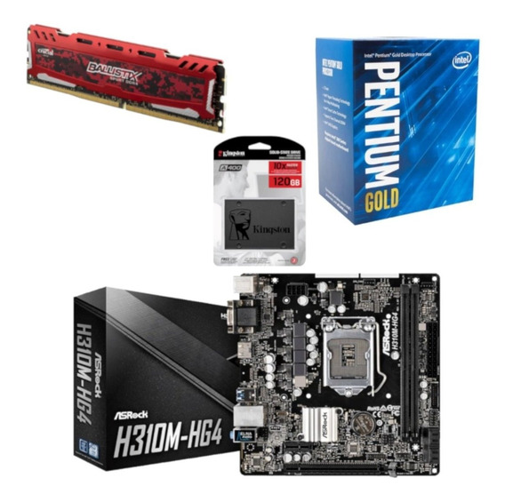 Kit Intel Pentium G5400 + Asrock H310m Hg4 + Ballistix Bl 4gb 2400mhz + Ssd 120gb Kingston