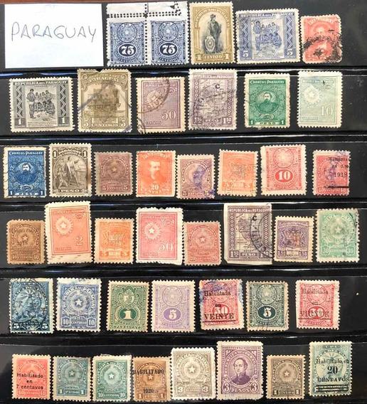 Estampillas Paraguay Lote De 42 Muy Antiguas Excelentes Leer