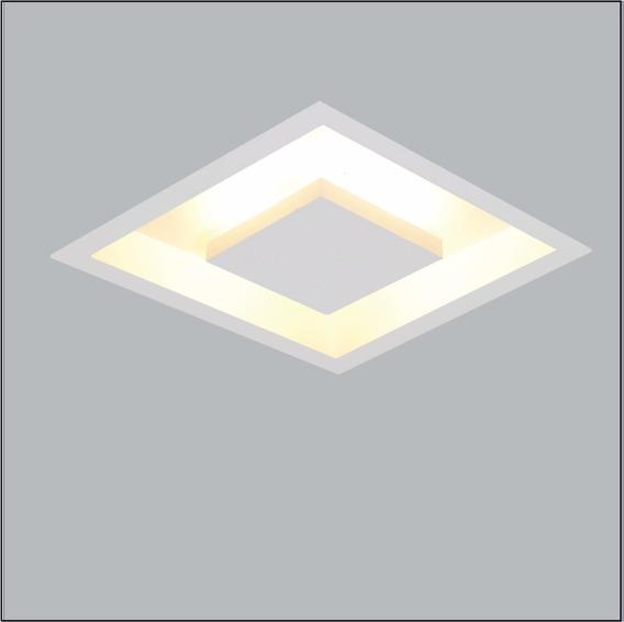 Plafon Rebatedor Embutir Luz Indireta Quadrado 40cm Branco