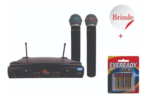 Microfone Duplo Sem Fio Kadosh Kdsw 402m Uhf + 4 Pilhas