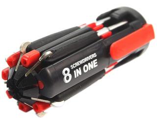 Destornillador 8 En 1 Con Linterna Led A Pila Multi Fun Cuot