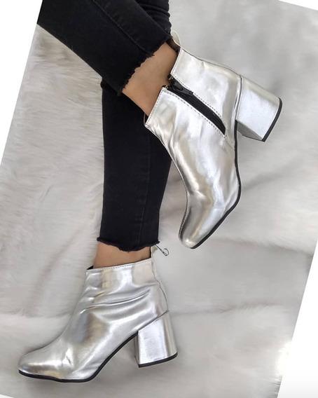 Botas Zapatos Mujer Ecocuero Plateados Moda