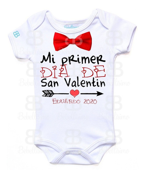 Pañalero Personalizado Bebé San Valentín Manga Corta O Larga
